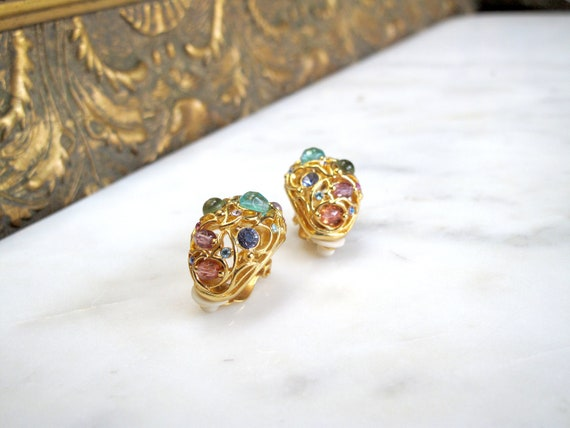 Joan Rivers Crystal- Gold- clip Earring- half shel