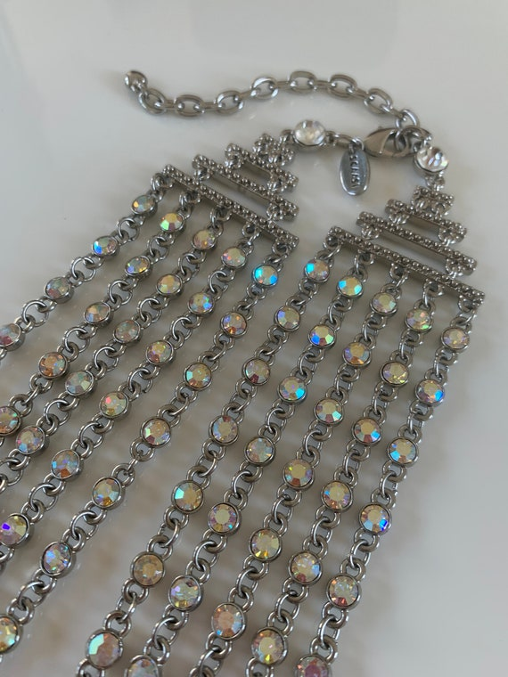 Silver Iridescent 5 Strand Necklace Designer: Arn… - image 8