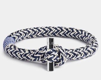 Black or Silver Anchor Woven Unisex Anchor Bracelet Slip Knot Closure For Comfort.