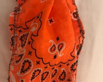 Handmade Face Mask Orange bandana larger ear elastic design