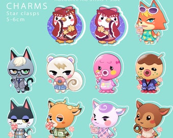Animal Crossing Charms (double sided, clear acrylic, 6cm) - holographic celeste added