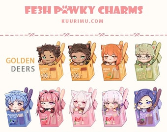 FE3H Pawky Acrylic Keychains - Golden Deers