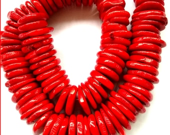Beads Chinese Red Coral Discs 10mm