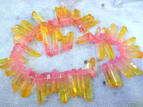 20-40mm Natural Crystal Point Beads Clear Transparent Stick Beads Raw Long Teeth Beads 16inch