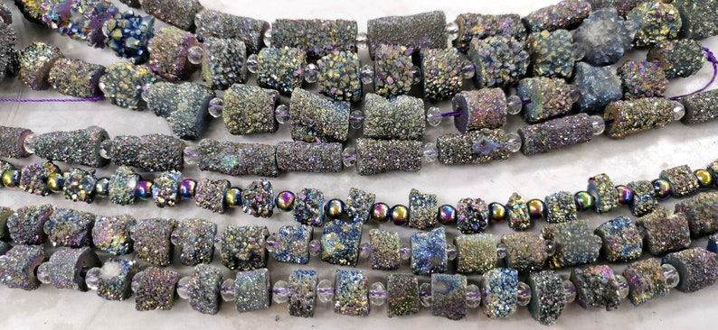 8-12mm Rainbow  Druzy Agate Crystal drum Barrel Nuggets   Geode Slice Necklace Boho Chic Agate Slice Necklace stone 16pcs