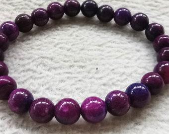 Sugilite crystal gemstone round ball purple red cherry  bead bracelet 8mm 10mm 16mm 8inch