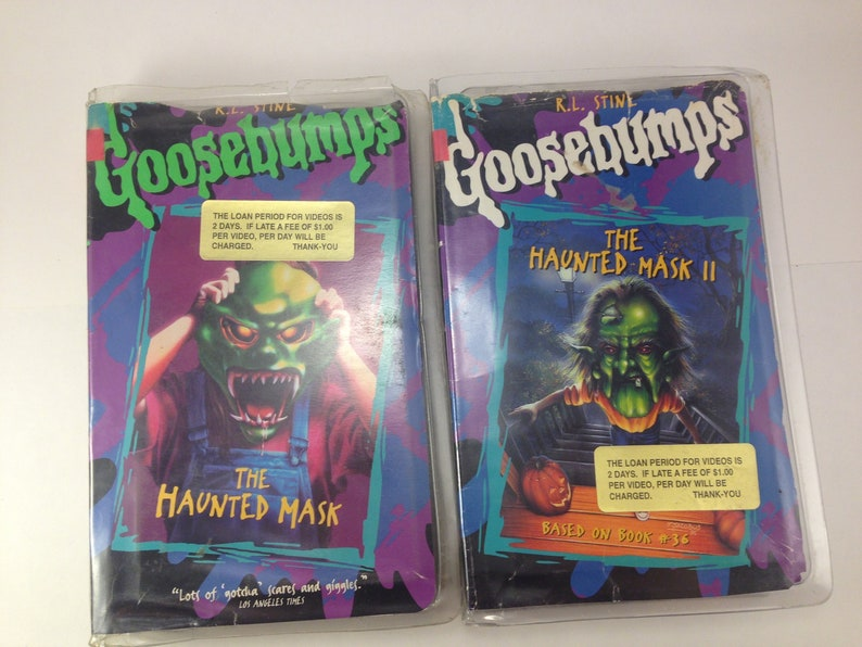 Vintage VHS Goosebumps The Haunted Mask Tape and The Haunted Mask II, 90s  1990s, RL Stine, ex-library copy