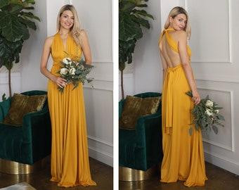 5302be230dd67 Yellow Bridesmaid Dress | Convertible Dress | Infinity Dress | Bridesmaid  Gown | Maternity Gown | Convertible Gown | Prom Dress | Maxi Dress