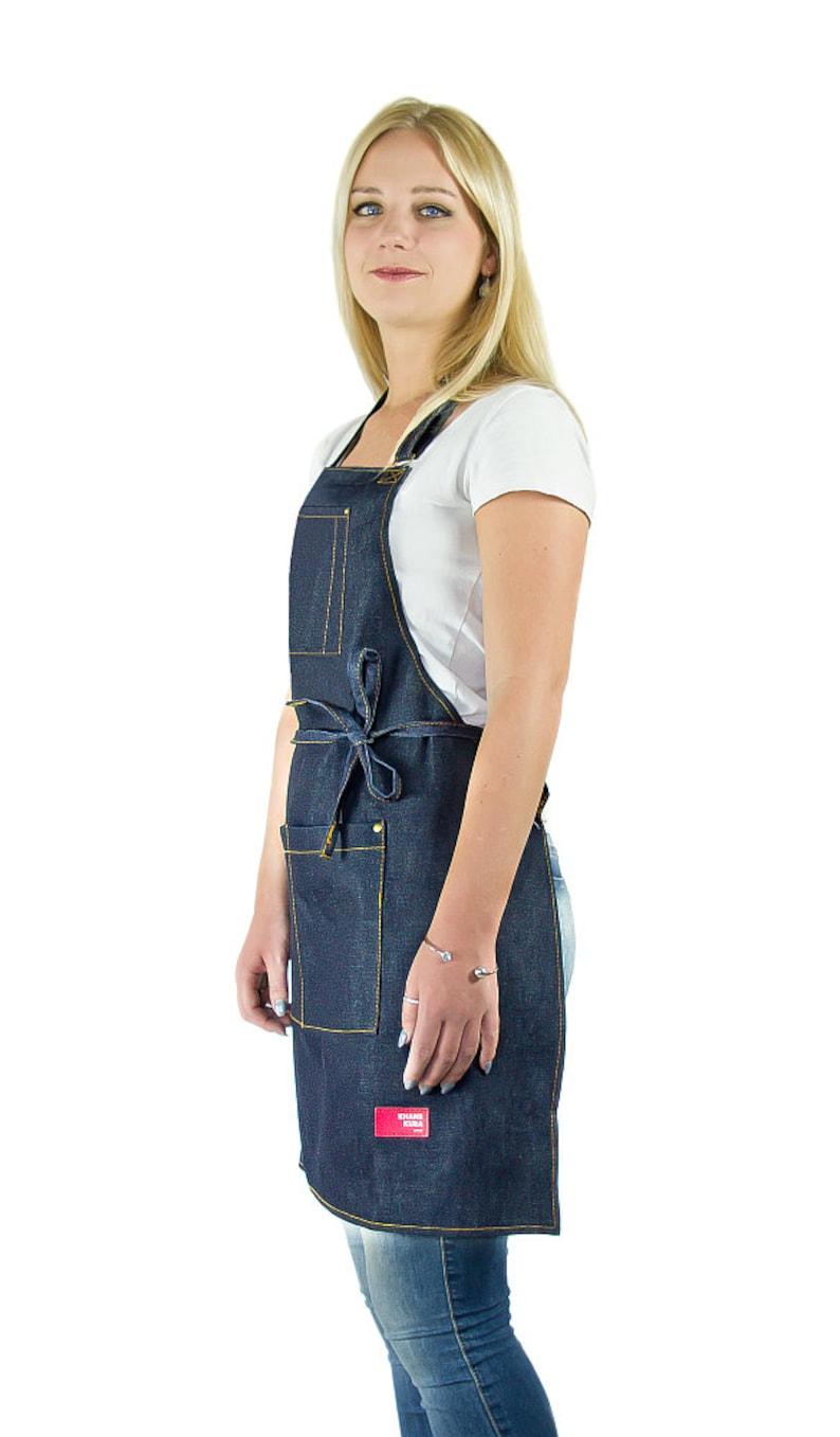 women's denim apron-kitchen-BBQ-outdoor-adjustable-high image 0