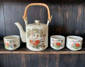Japanese Satsuma Teapot And Cups Set, Quail, Birds, Gilded, Stamped, Bamboo Handle, Japan