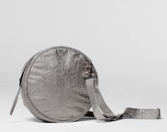 Round Crossbody Silver Bag, Tyvek Handbag, Small Purses with Shoulder Strap, Vegan Bags Women Boho