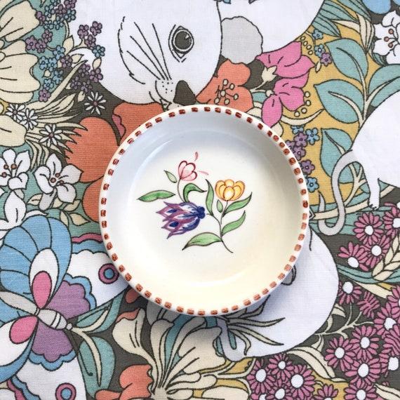 Vintage c.1970s Poole Pottery floral trinket dish