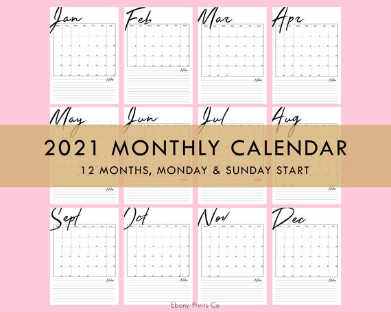 2021 Monthly Calendar Vertical 12 Months Planner Printable ...