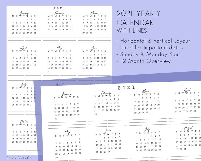 2021 Calendar With Lines 12 Months Year at a Glance Insert ...