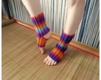 Wife Gift Open Heel Turn Ombre Yoga Socks Mid-Calf Athletic Socks Hand Knit Gym Socks Knitted Variegated Red Ivory Toeless Socks