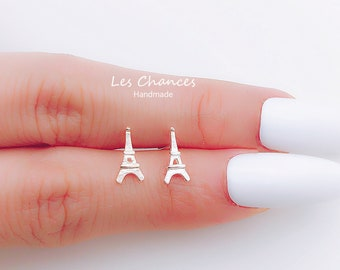 Sterling Silver //  Eiffel Tower Earrings, French Tower Ear Studs, France Design Jewelry, Artistic Earrings, Elegant Jewelry, Gift For Her
