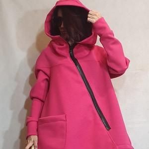 Asymmetric Coat Track Coat Winter Coat Plus Size Clothing Winter Clothing Hooded Coat Burnt Orange Coat Women Coat Zipper Coat