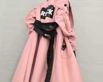 New collection Extravagant Long Coat, Avant Garde Asymmetric Coat, Pink Wool Coat, Gothic Coat, Plus Size Clothing, Women Coat