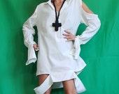 Asymmetric Linen Dress, Avant Garde Tunic, Loose Tunic Dress, Deconstructed Top, Linen Clothing, Tunic Shirt, Oversize Tunic, Long Sleeve
