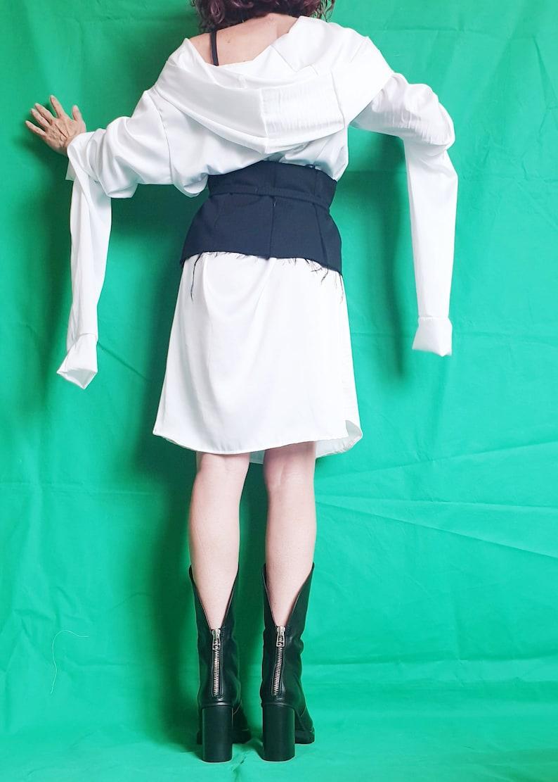 Extravagant Long Shirt with Corset Loose Tunic Top White Satin Hooded Shirt Maxi Tunic White Tunic Futuristic Top Avant Garde Tunic