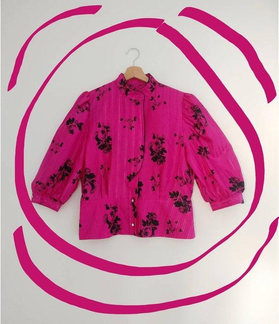 Pink & black statement blouse top - image 1
