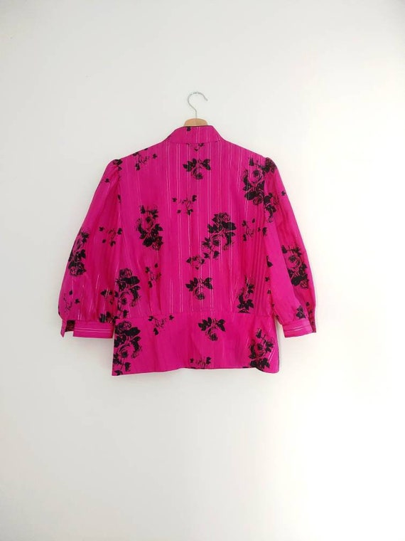 Pink & black statement blouse top - image 2