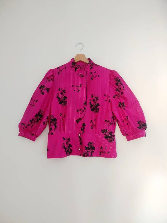 Pink & black statement blouse top - image 3
