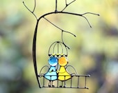 Suncatcher Stained Glass Art Window hangings Angels Couple Love Home decor Gift