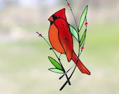 Stained Glass Art Suncatcher Window hangings Bird Cardinal Handmade Home decor Gift