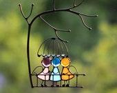 Suncatcher Stained Glass Art Window hangings Three Angels Love Home decor Gift