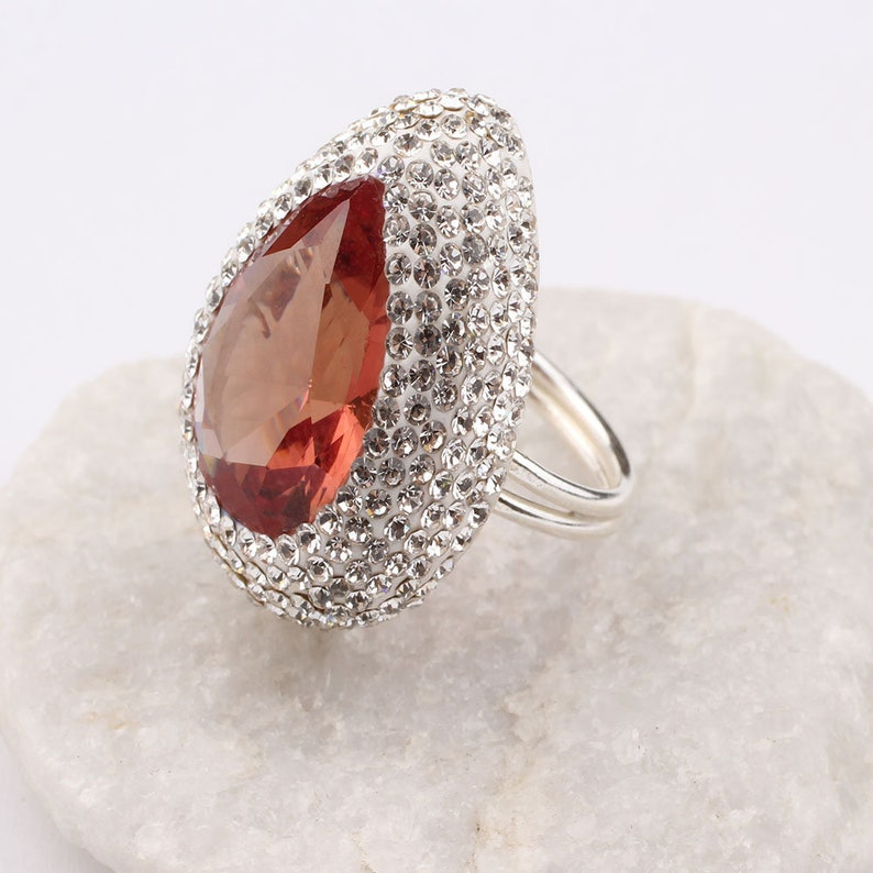 Teardrop Cut Sultanite Stone and Zirconia Womens Rhodium Plated Silver Ring,Woman Silver Sultanite Handmade Ring,Sultanite Ring For Woman