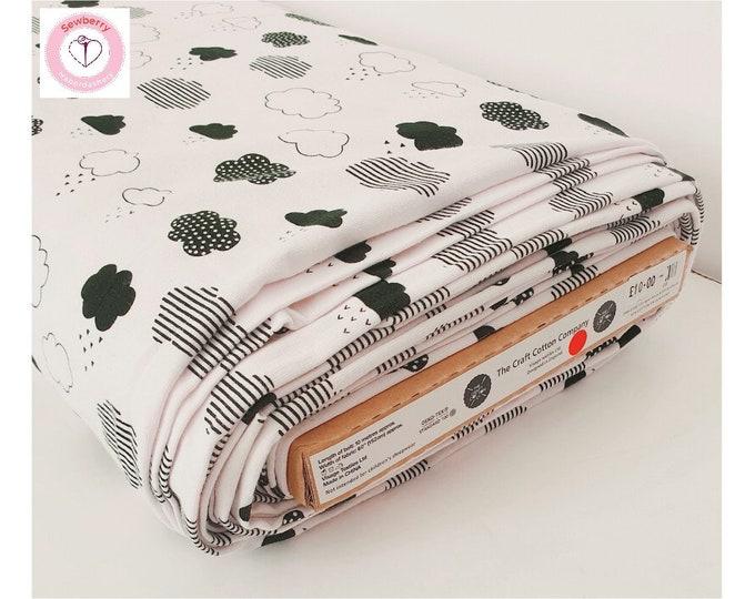 Jersey cotton  Craft cotton company  cloud print  half meter  metre  dressmaking  sewing  blanket making  craft