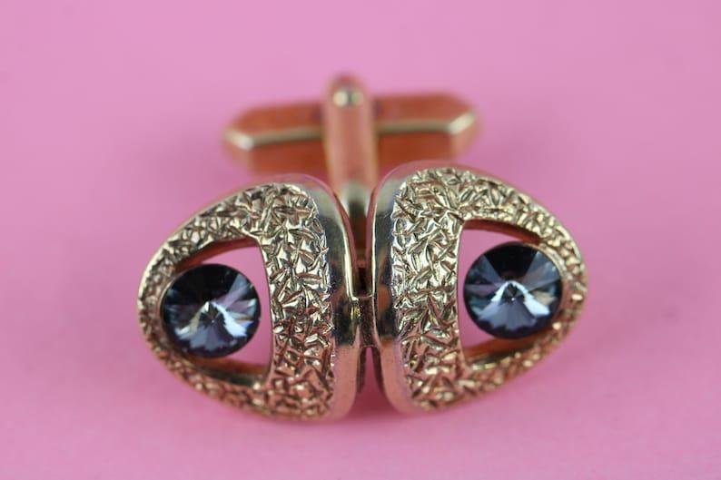 1970s brutalist mid century modernist gold tone blue crystal cufflinks