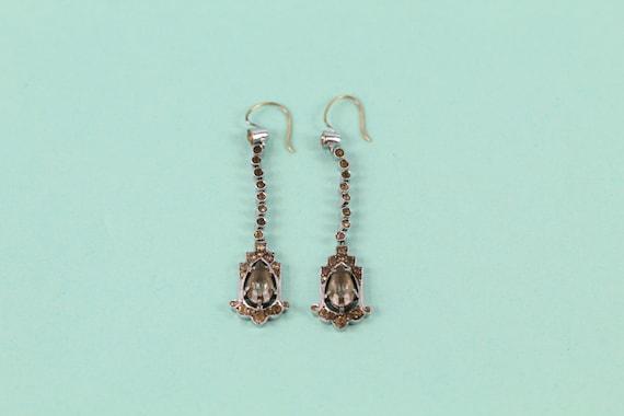 Stunning Art deco .935 silver paste drop earrings