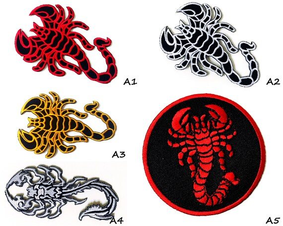 Scorpion Biker Patch Embroidered Iron On Sew On Patch Badge For Clothes Etc