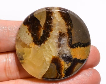 Amazing Yellow Septarian Cabochon  Top Grade Brown Septarian Gemstone  High Quality  Trapezoid Shape 36.5 Ct  29x26x6mm Loose Gemstone