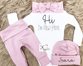 8a9631306 Baby Girl Clothes, Baby Girl Coming Home Outfit, Light Pink, Baby Girl,  personalized, Baby Shower Gift