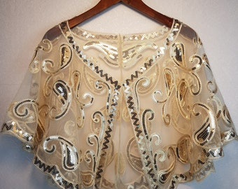 fcfa72efd1 Women Vintage 1920s Flapper Shawl Short Evening Cape Sequin Beaded  Decoration Capelet Gatsby Party Mesh Short Cover Up