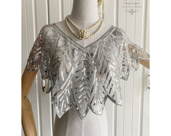 1920s Gatsby Wedding Shawl Cape Beaded Sequin Capelet Evening Wraps Flapper Cover Up Grlapper Accessories Art Pearl Necklace Sequined Bolero