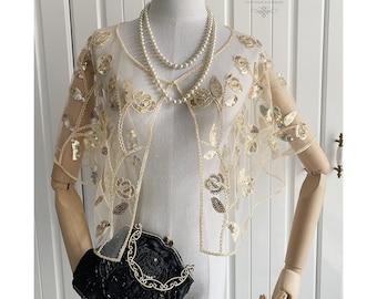 1920s Vintage Art Beaded Sequin Wrap Floral Beaded Mesh Capelet Wedding Wrap Bridal Shawl Gatsby Evening Bolero Cape Wrap Flapper Cover Up