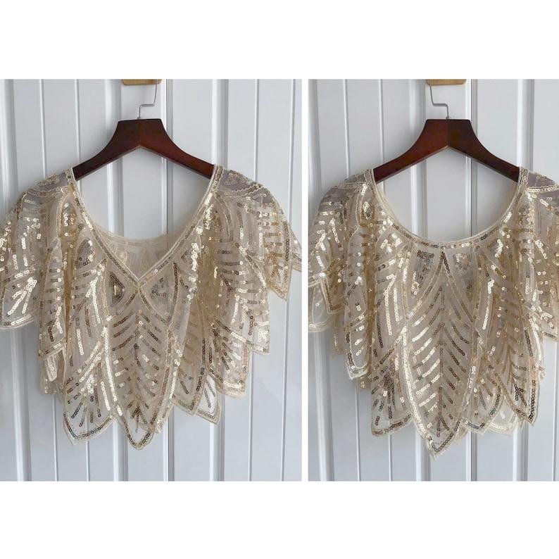 Gatsby Bridal Wedding Shrugs Evening For Women/'s 1920s Sequin Shawls Wraps Cape