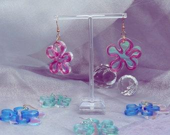 Spongebob Flower Inspired large acrylic Statement earrings, Lazer cut earrings, iridescent Acrylic