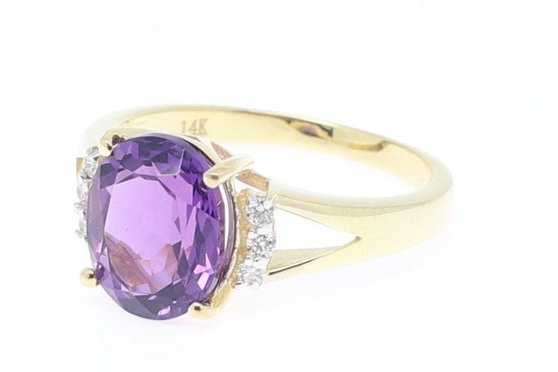 Solid 14k yellow Gold Natural Amethyst Natural Diamond Ring Natural Amethyst Jewelry