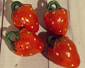 ONETIMESALE            Vintage Strawberry Salt and Pepper Shakers with Plastic Corks
