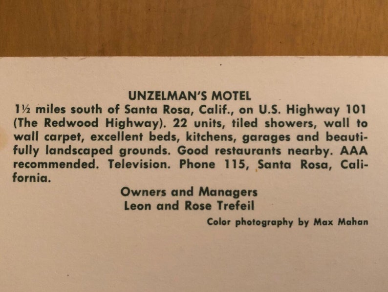 Vintage Unzelman Motel postcard