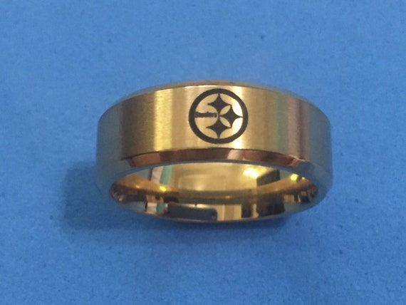 Pittsburgh Steelers Ring Gold Stainless Steel Band Etsy