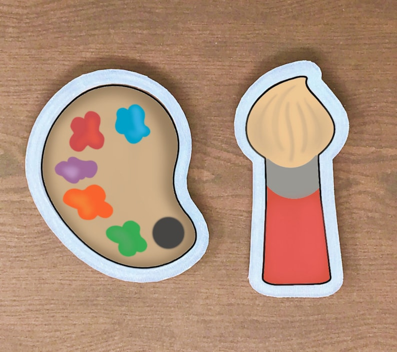 Artist Cookie Cutter Set American Confections Palette. Paint Brush