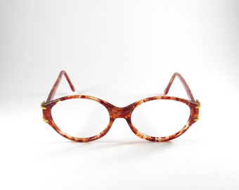bb6089a39590 Givenchy Paris Mod:G057 1990s, Authentic Vintage Oval Tortoise Shell Effect  Eyeglasses, Rare 90s Givenchy Tortoise Shell Effect Eyeglasses