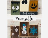Trick or Treat Let it Snow -Reversible Custom Wood Block Set-Fall Décor-Décor-Winter Décor-Halloween Décor-Rustic Décor-Farmhouse Halloween