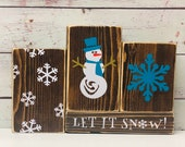 Let It Snow Wooden Block Set-Winter Décor-Christmas Décor-Rustic Block Set-Winter Wood Blocks-Rustic Wood Blocks-Reversible
